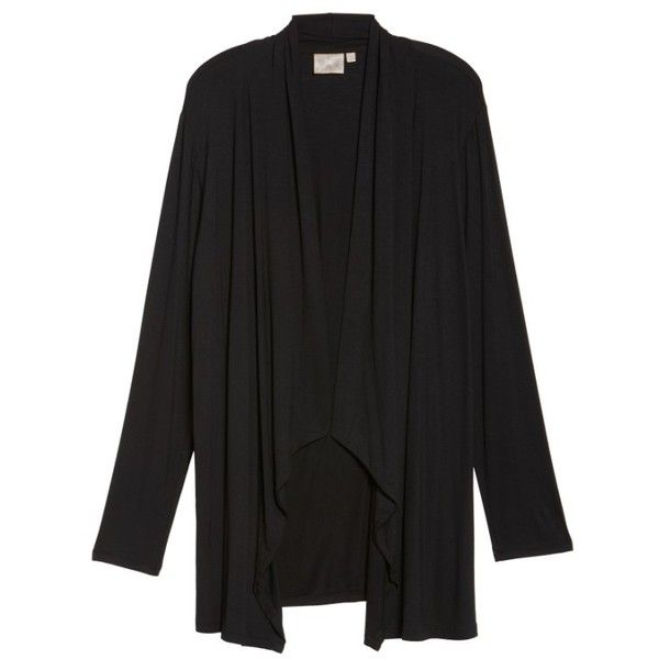 Plus Size Women's Dantelle Waterfall Drape Front Cardigan (155 BRL) ❤ liked on Polyvore featuring tops, cardigans, drape front top, waterfall top, open front cardigan, open front tops and plus size tops