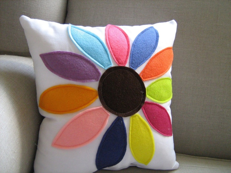 Rainbow Flower Pillow by dedeetsyshop on Etsy, $29.00