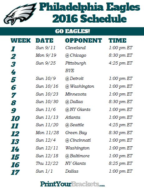 Printable Philadelphia Eagles Football Schedule
