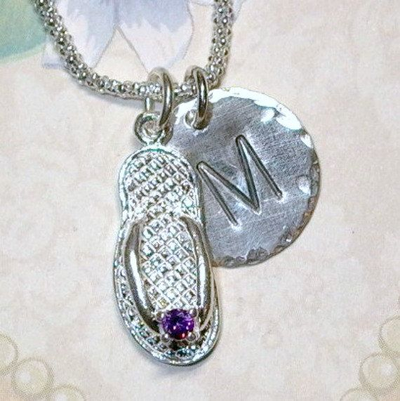 Amethyst February Birthstone Flip Flop Hand Stamped Sterling Silver Initial Charm Necklace - by DolphinMoonCreations #etsyjewelry #februarybirthday #flipflops