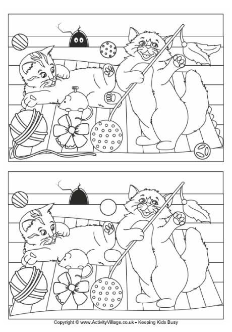Cats find the differences puzzle
