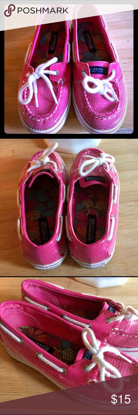 Pink Sperry Loafers Pink Sperry Loafers with a touch of sequins & shimmer. Excellent condition. Sperry Shoes Slippers
