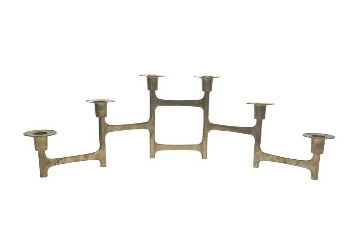 Scandinavian Folding Brass Candle Holder on Chairish.com