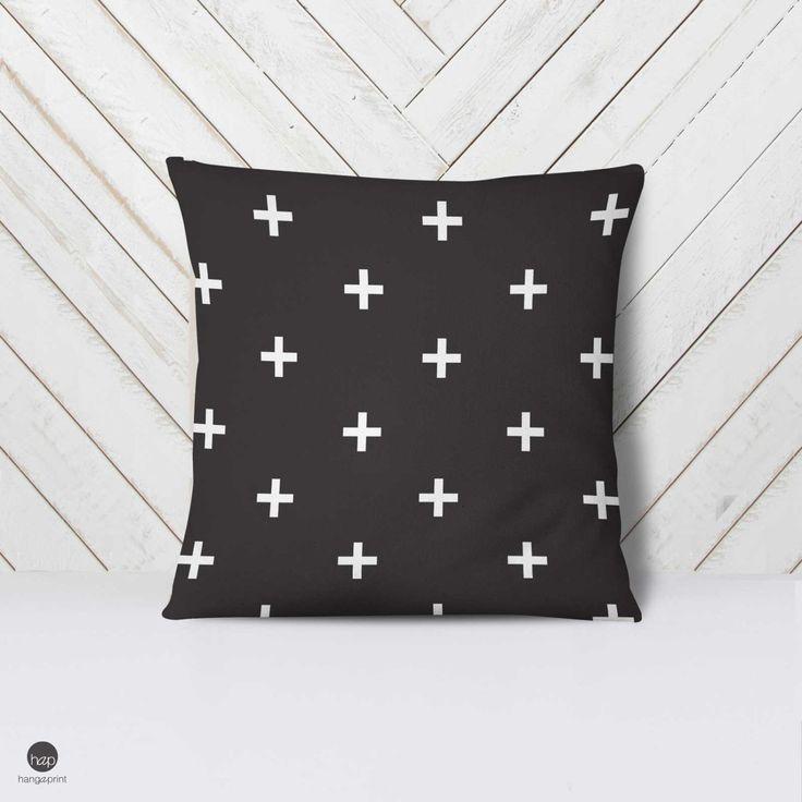 Swiss Cros Pillow, Modern Nursery Pillow, Modern Pillow Case, Minimalist Bedding, Gender Neutral, White Nursery, Baby Pillow Case, Geometric by hangAprint on Etsy