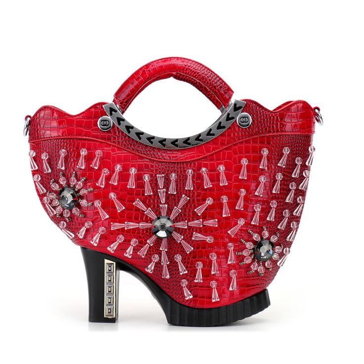 Amliya fashion shining beaded high-heel shoes shape long shoulder bag handbag…