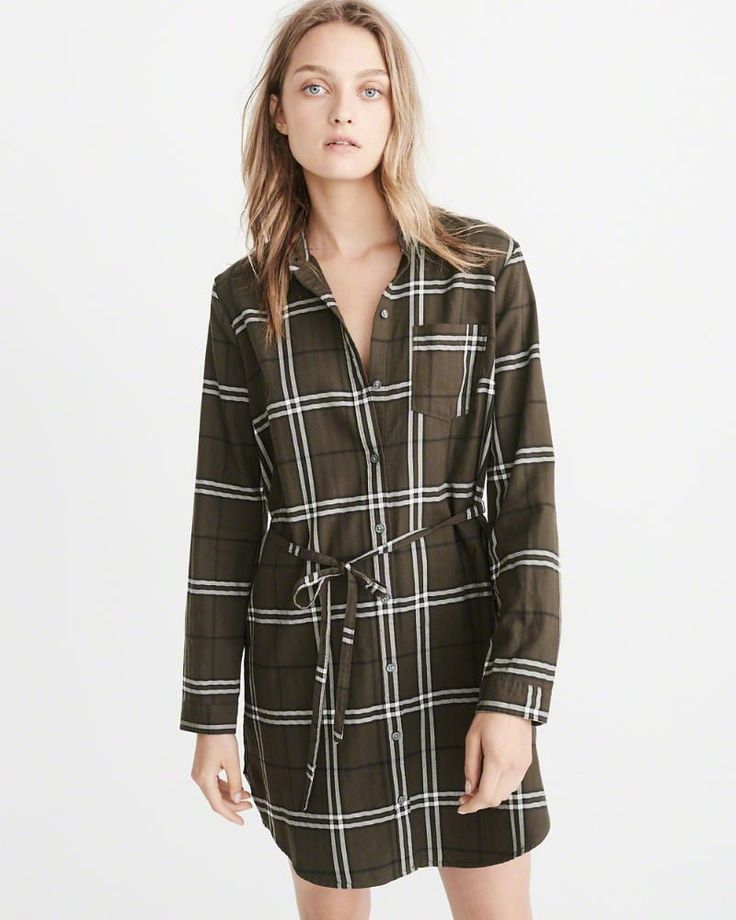 A&F Women's Long-Sleeve Shirtdress in Olive Green - Size XL Petite