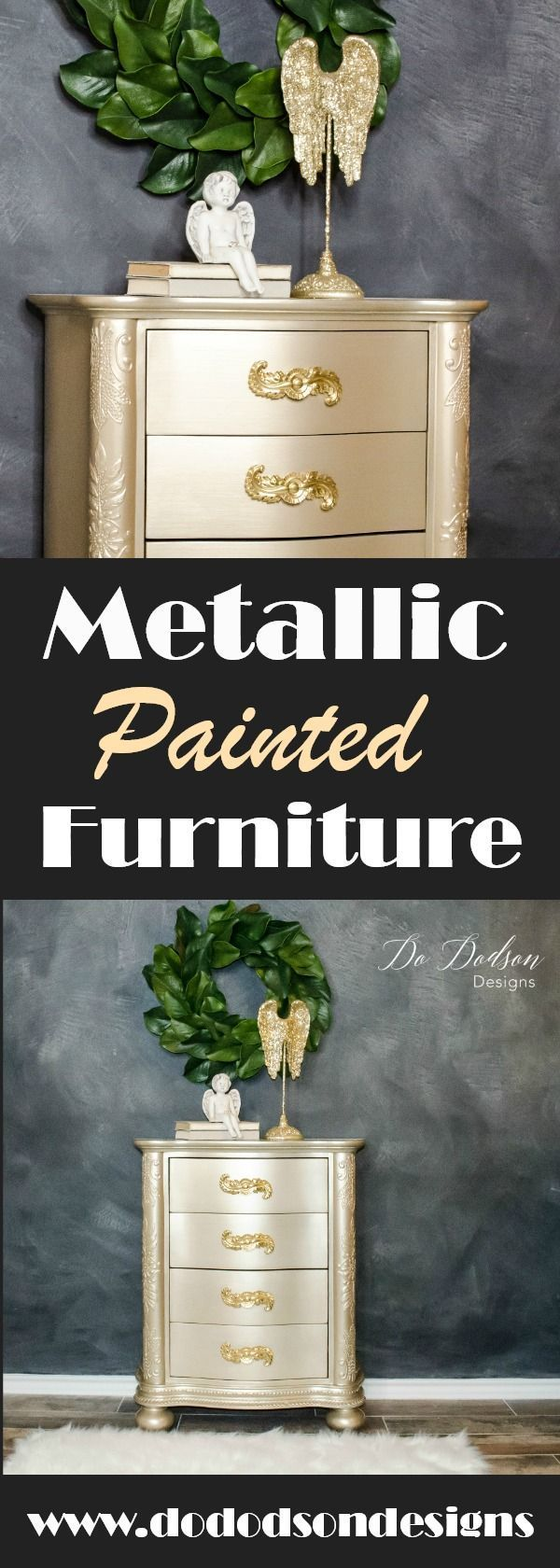 DIY metallic painted finish for your furniture.