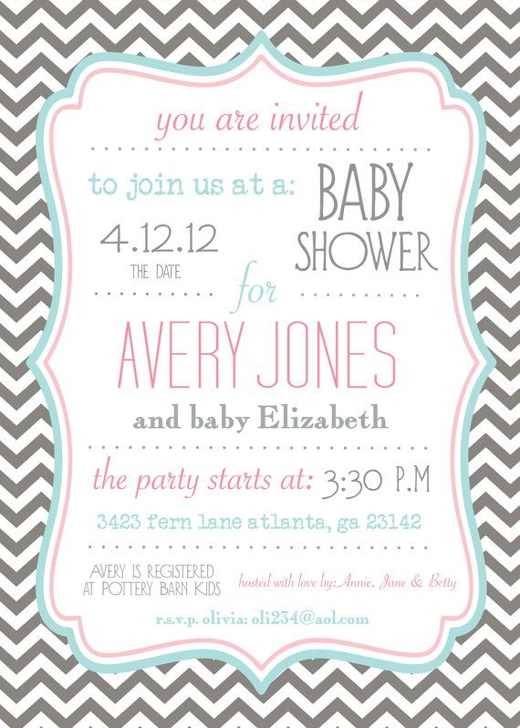 Gray and Turquoise Chevron Baby Shower by PaperEtiquette on Etsy, $15.00