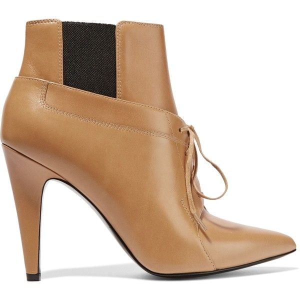 Alexander Wang Ryan leather ankle boots ($312) ❤ liked on Polyvore featuring shoes, boots, ankle booties, tan, pointy toe booties, pointed toe ankle boots, pointy-toe ankle boots, pointed toe high heel booties and pointed toe booties