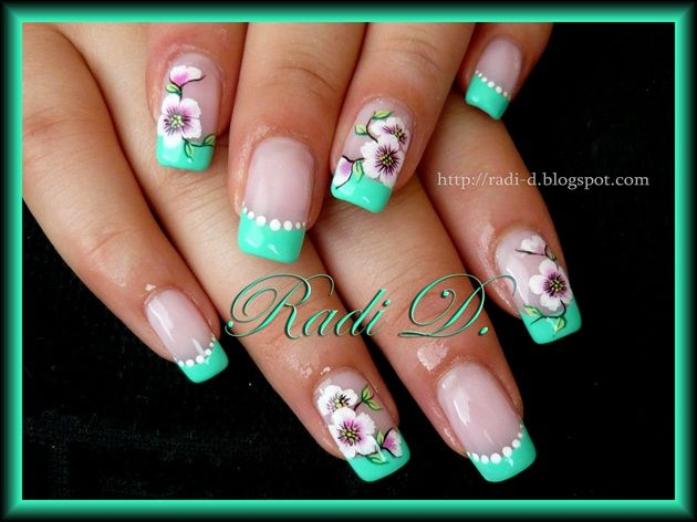 Mint green french and flowers