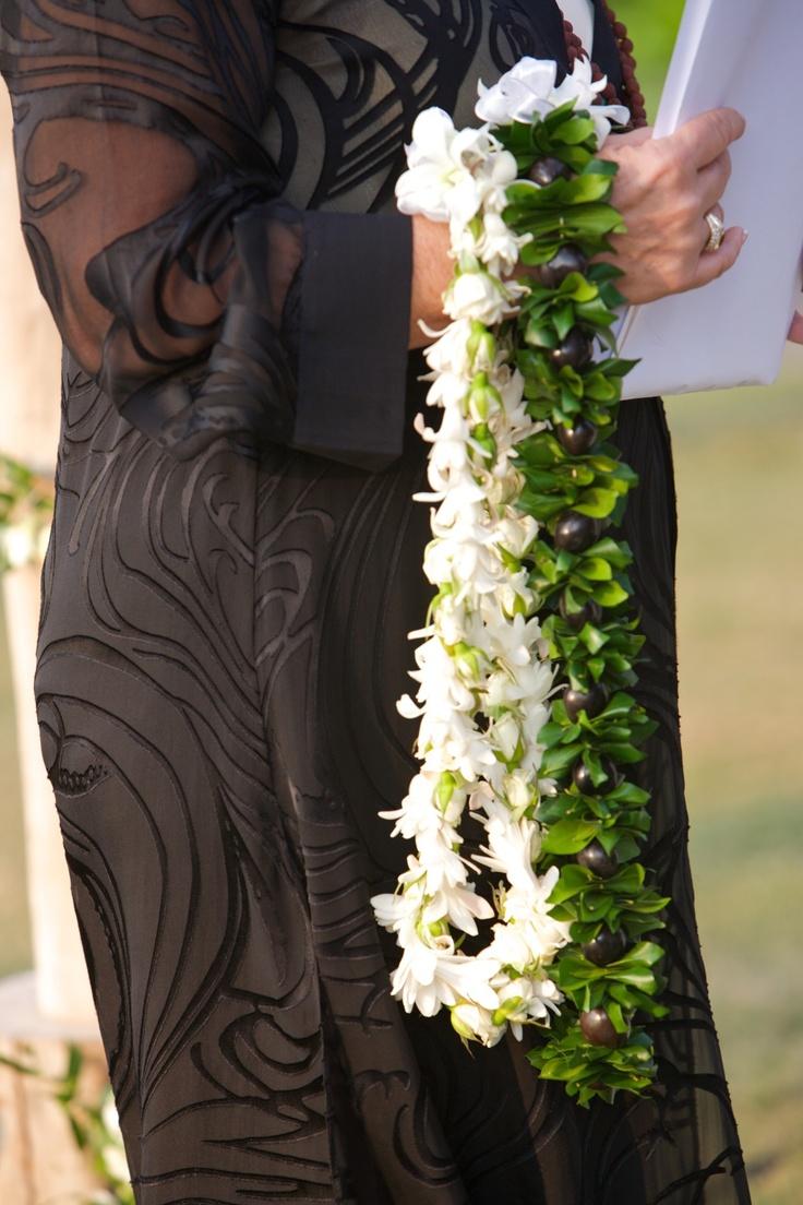 #White orchid and rose twist lei; Kukui nut lei with mock orange leaves - Flowers by Heidi, Four Seasons Resort Hualalai Weddings