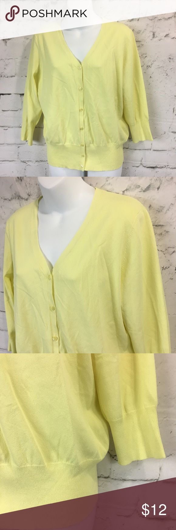"""Ann Taylor Womens V Neck Button Front Cardigan Ann Taylor Womens Size XL V Neck Button Front Cardigan Lemon Yellow 3/4 Sleeve Perfect Easter Spring Cardigan Nice Pre-Owned Condition, No Stains, No Holes  *Measurements are taken with garments laid flat and unstretched, please compare to your own garments for best fit*  Chest laid flat from pit to pit: 24"""" across  Length from shoulder to hem: 24""""  B1 Ann Taylor Tops Button Down Shirts"""