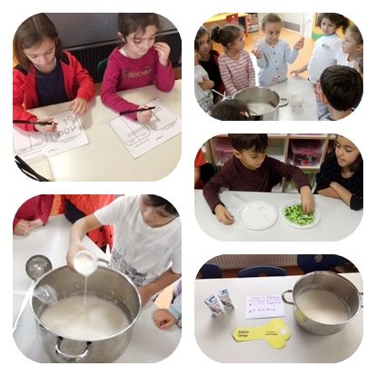 """""""Süt nereden gelir? Nasıl değişir? Sütten başka neler yapabiliriz? """" diye sorduk.""""Yoğurt"""" cevabının gelmesi üzerine 6 yaş sınıflarımızdaki öğrencilerimiz ile sütü mayalayarak yoğurt yaptık. Ardından yoğurdumuzu çeşitli ürünlere dönüştürdük."""