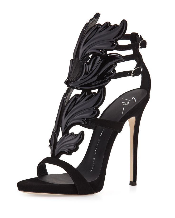 """Giuseppe Zanotti suede sandal with wings appliqu. 4.8"""" covered stiletto heel; 0.5"""" platform; 4.3"""" equiv. Open toe. Caged vamp. Double adjustable ankle straps. Lightly padded footbed. Leather lining an"""