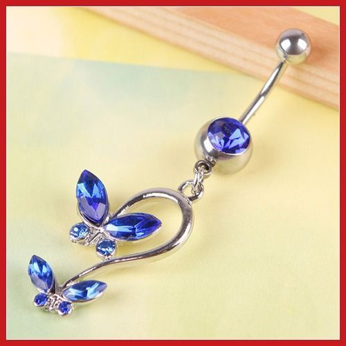 bidlook Pretty Crystal Double Butterfly Navel Belly Button Barbell ...