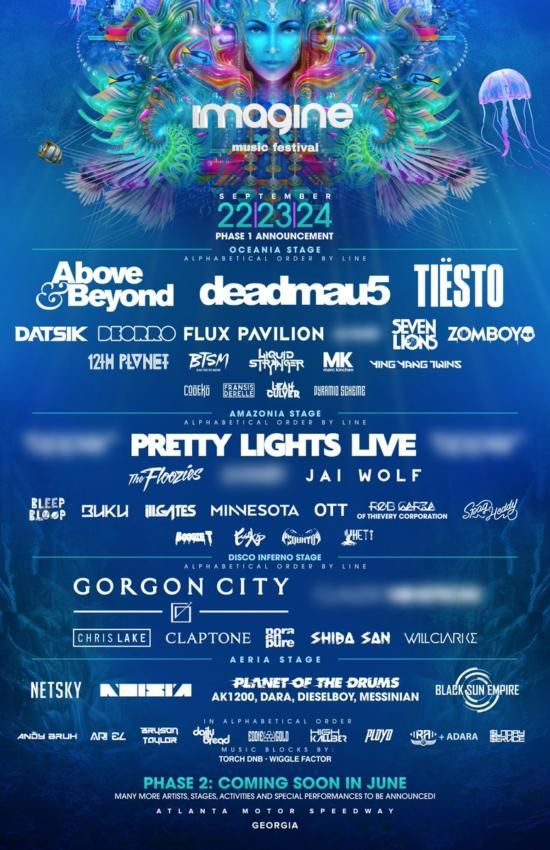 IMAGINE MUSIC FESTIVAL | FIRST ROUND LINEUP + AfterMovie IMAGINE MUSIC FESTIVAL ANNOUNCES FIRST ROUND LINEUP FOR 4TH ANNUAL EVENT IN ATLANTA, GEORGIA, SEPTEMBER 22-24, 2017  Imagine has released the first phase of its lineup and it's bigger than ever. Following a transformative third year, which saw the region's largest independent EDM camping...