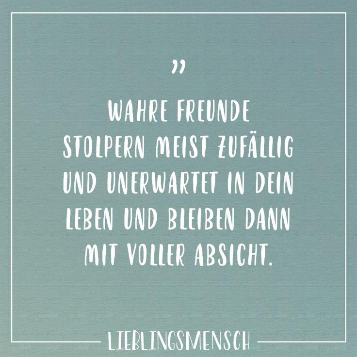 Wahre Freunde stolpern meist zufällig und unerwartet in dein Leben und bleiben dann mit voller Absicht