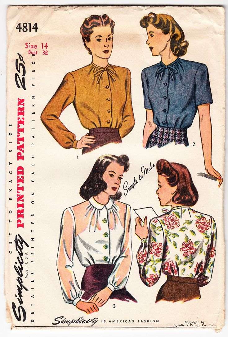 Vintage 1943 Simplicity 4814 Sewing Pattern Misses' and Womens' Blouse Size 14 Bust 32 by SewUniqueClassique on Etsy https://www.etsy.com/listing/208664440/vintage-1943-simplicity-4814-sewing