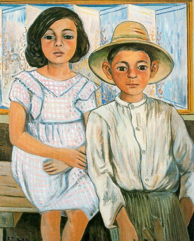 Girl sitting and boy with hat standing, 1943 Rafael Zabaleta