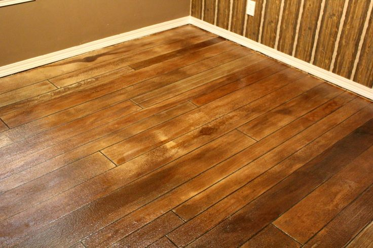 Finished rustic concrete wood project fairhope al for Hardwood floor concrete stamp