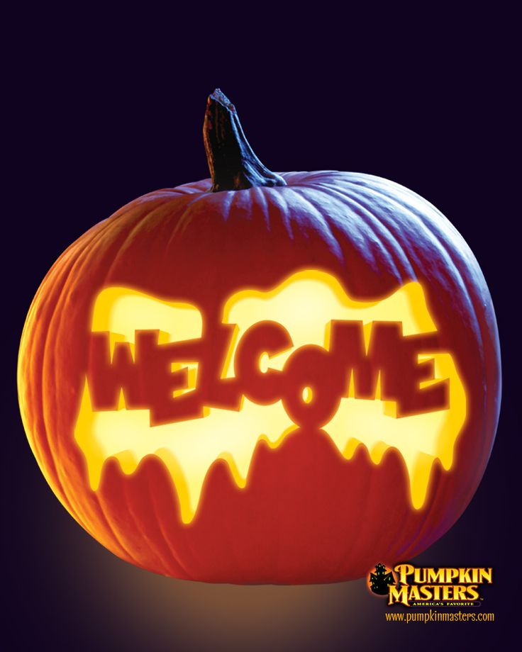 """""""Welcome"""" pattern from the Pumpkin Masters Carving Party Kit."""