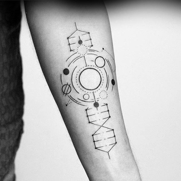Mens Simple Line Geometric Shapes Dna Inner Forearm Tattoo Top