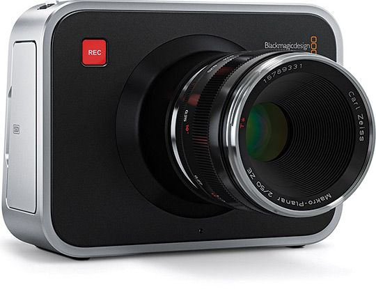 Blackmagic Cinema Camera is a Canon EF and Zeiss ZF mount compatible compact video camera with a 2.5k sensor that shoots 24-30 fp