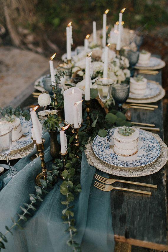 Seaside wedding tablescape