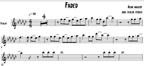 Faded Alan Walker Violin Cover Music Sheet En 2020 Con