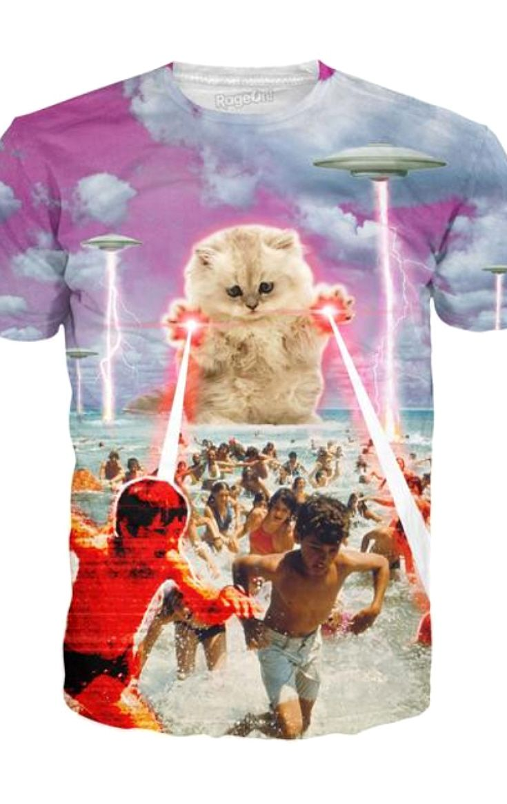 9a10a7618 Funny Sci-Fi Cat Unisex T-shirt. The Kitten No One Loved -This vibrant tee  features a killer kitty alongside UFOs destroying those who were enjoying  the ...