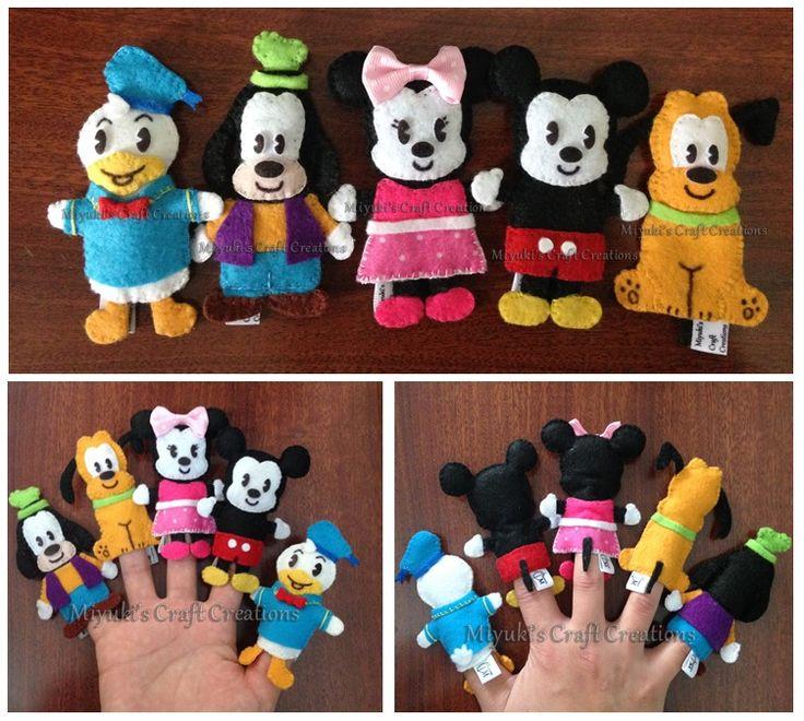 Mickey and friends Felt Finger puppets / Mickey Mouse / Finger Puppets / Felt crafts / Felt / handmade / Arte em Feltro / Dedoches Mickey e seus amigos / Miyuki´s Craft Creations