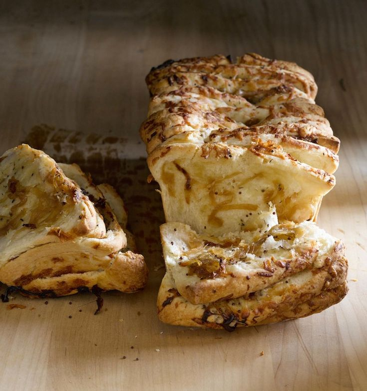 Gruyere & Caramelized Onion Pull-Apart Bread:  This savory, cheesy onion loaf is made by layering yeasty bread dough and caramelized onions with shredded Gruyere and fresh herbs. Once baked, it pulls apart easily into individual slices, so it's...
