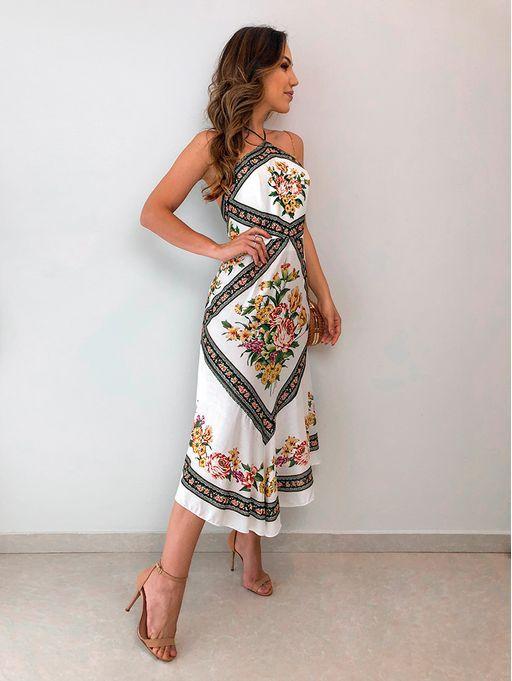 e227cb3f3aaf1 Vestido Midi Maria Farm | Платья em 2019 | Looks femininos, Vestidos ...