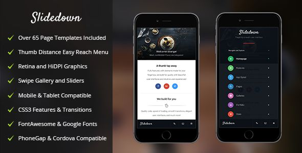 SlideDown | Mobile & Tablet Responsive Template