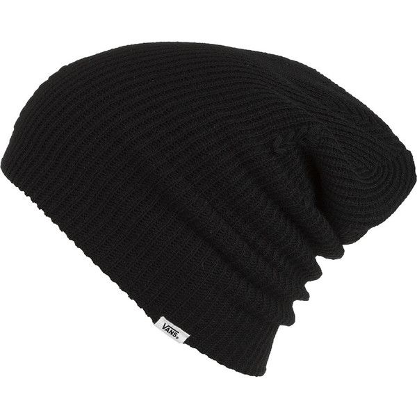 Vans Boast Beanie (£8.52) ❤ liked on Polyvore featuring accessories, hats, beanies, hair, black, vans hat, vans beanie, black beanie, black hat and beanie hats