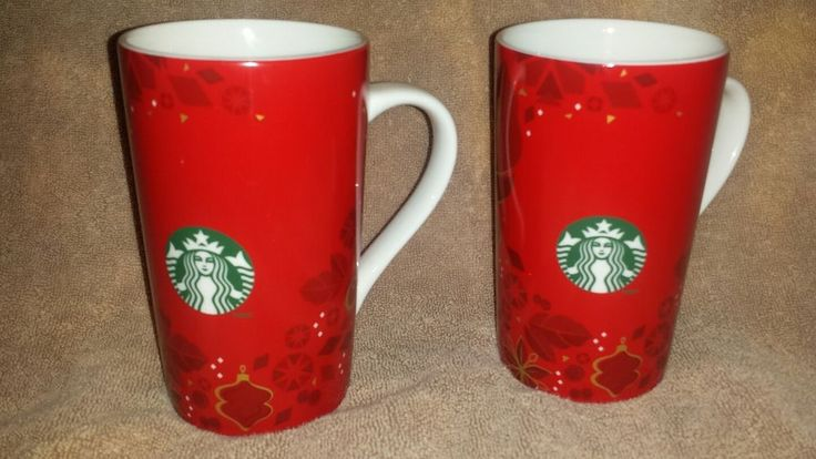 STARBUCKS Coffee Mug Set of 2 Red Christmas Snowflake Red Flower 16 oz 2013 Siren Logo     Mugs are in good used condition. No chips, cracks, or stains.     Payment : PayPal only.    Shipping : My goal is to ship within 24 hours of payment.     Please ask if you have any questions. | eBay!