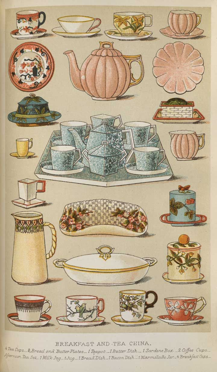 From 'Mrs. Beeton's Book of Household Management' (1861) an illustration of Breakfast and Tea China : 4 Tea Cups & Bread & Butter Plates..1 teapot..1 butter dish..1 Sardine box..2 coffee cups...Afternoon Tea Set..1 Milk Jug..1 Jug..1Bread Dish..1 Bacon Dish..1 Marmalade Jar..4 Breakfast Cups.