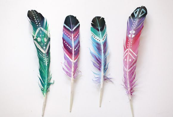 DIY Painted Feathers - acrylic paint, thinned slightly with water, painted on feathers