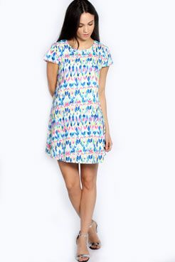 Pixie Multi Colour Aztec Open Sleeve Dress at boohoo.com