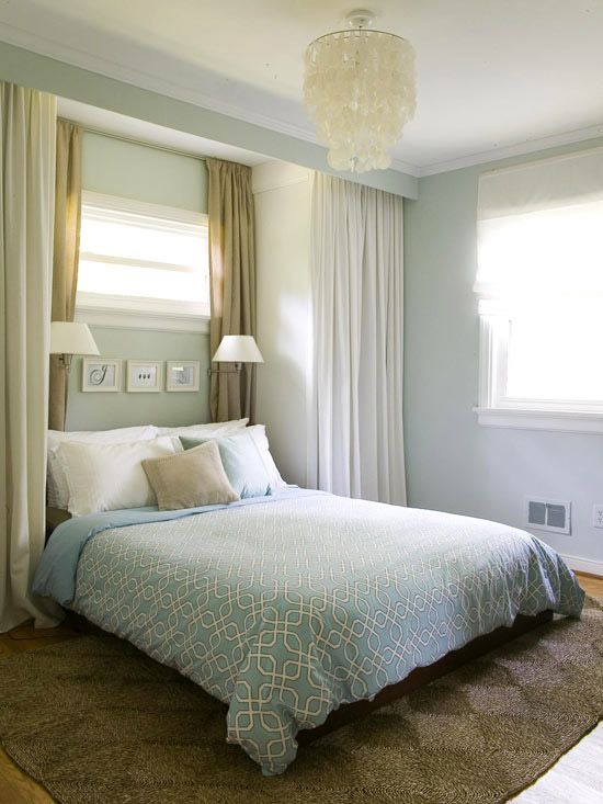 I absolute LOVE this master bed room.  Built-ins along side the bed, and bed placed under small window.  How beautiful!