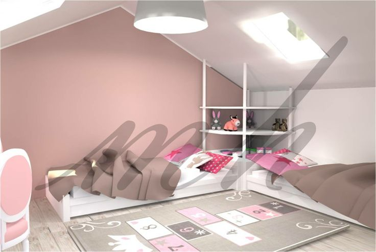 amenagement d 39 une chambre de petites filles sous les combles de cette maison familiale on. Black Bedroom Furniture Sets. Home Design Ideas