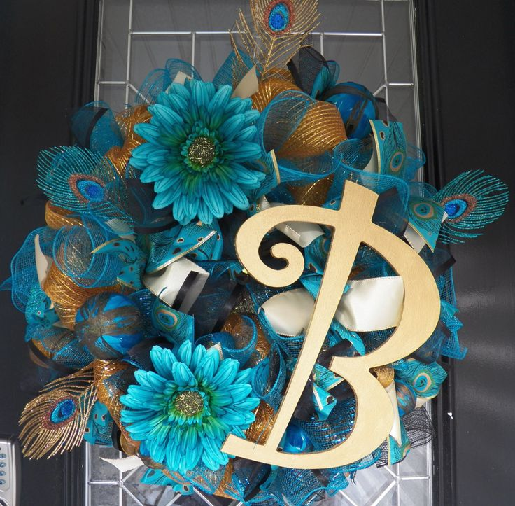 Monogram Wreath, Deco Mesh Wreath, Door Hanger, Everyday Wreath, Personalized Wreath, Peacock Decor by OccasionsBoutique on Etsy