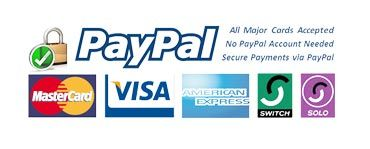 We accept Paypal, Mastercard, Visa, American Express, Switch and Solo