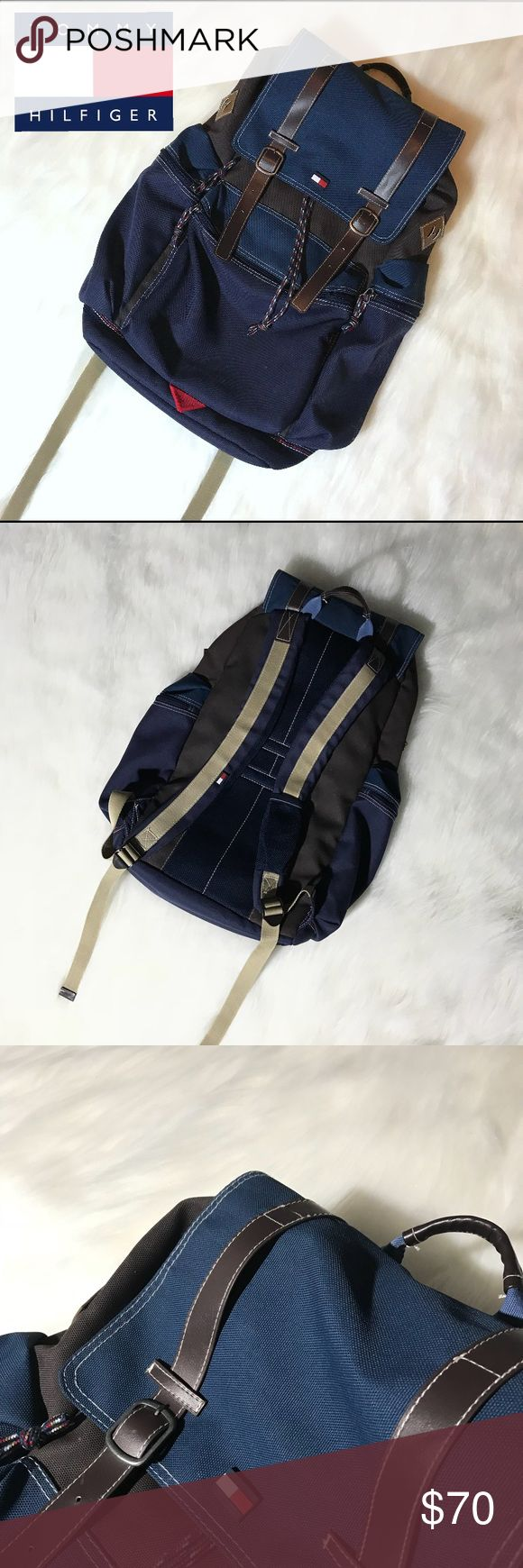 Tommy Hilfiger Backpack TOMMY HILFIGER   Rucksack Backpack   Trendy Old School 90s Vintage   Street Style   Blue and Brown   Great for Traveling Adventure School Hiking Multi Purpose   Great Condition No Flaws   Men's and Women's   Like Patagonia North Face Vans Adidas Gucci Hollister Tommy Hilfiger Bags Backpacks