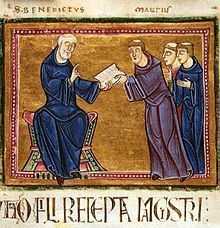 St. Benedict delivering his rule to the monks of his order, Monastery of St. Gilles, Nimes, France, 1129