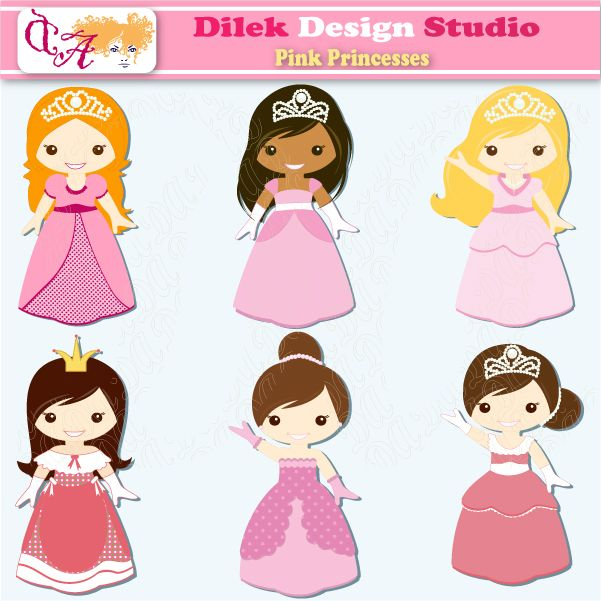 Pink Princesses - perfect clipart for scrapbooking, invitations, web design, card making and more.