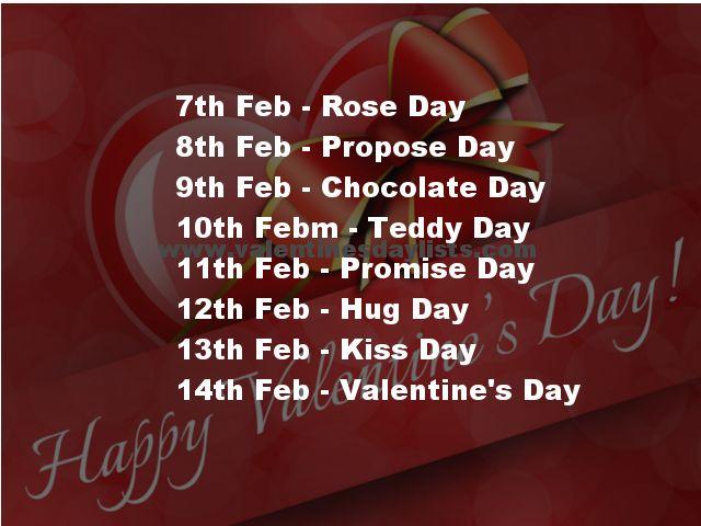 Happy valentine day week list 2018