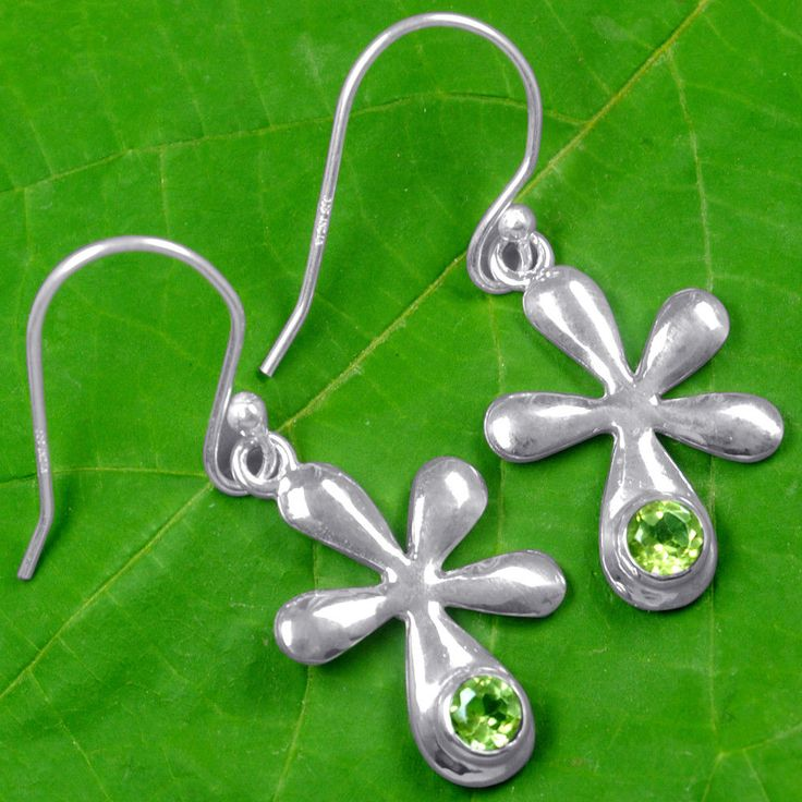 Top 925 Sterling Silver Natural Round Peridot Lovely Pair Earrings Girls Jewelry #Handmade
