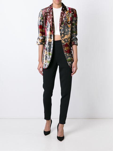 Moschino Vintage бархатный пиджак с графическим принтом
