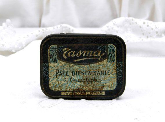 Vintage Franse metalen geneeskunde Candy Tin / Frans Decor / Franse Vintage / Cottage chique / Retro interieur / apotheker / Parijse Decor